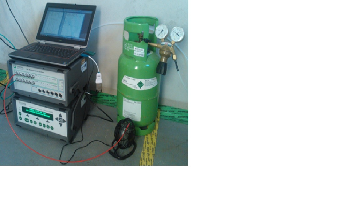 Photoacoustic gas monitor with multipoint sampler and dosing unit for air-exchange analyses and ventilation-efficiency measurements using the tracer-gas technique.